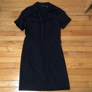 New York & Company Black Short Sleeve Shirtdress